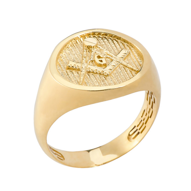 Solid Yellow Gold Masonic Men's Ring
