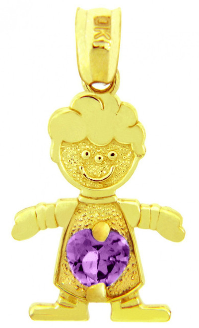 Gold February Amethyst CZ Birthstone Charm