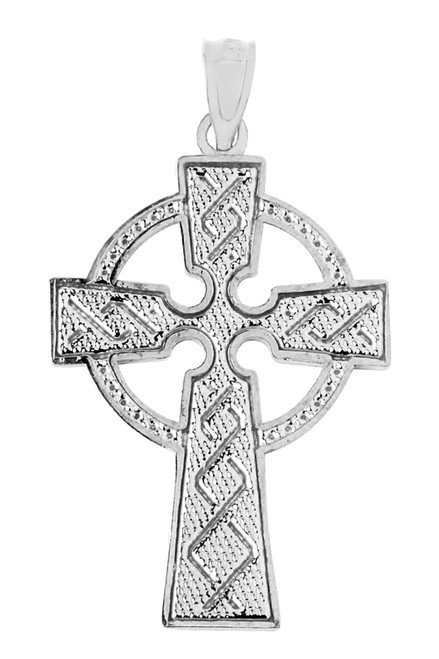 Textured White Gold Celtic Cross Pendant