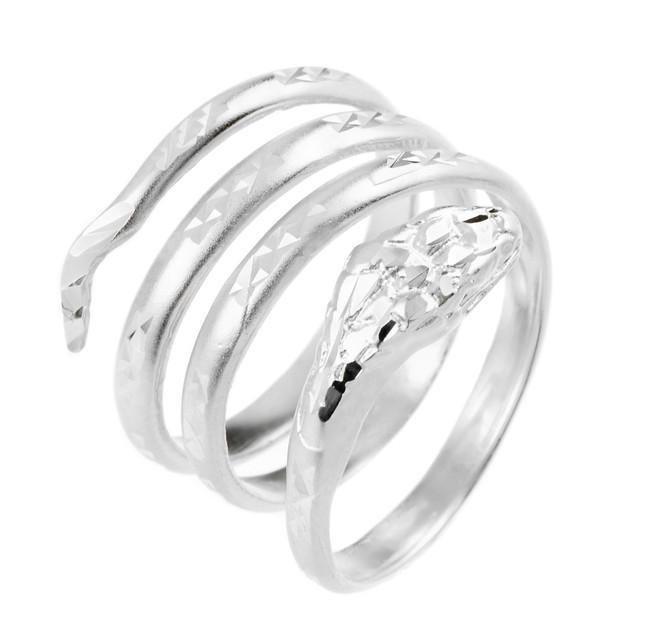White Gold Coiled Snake Ring