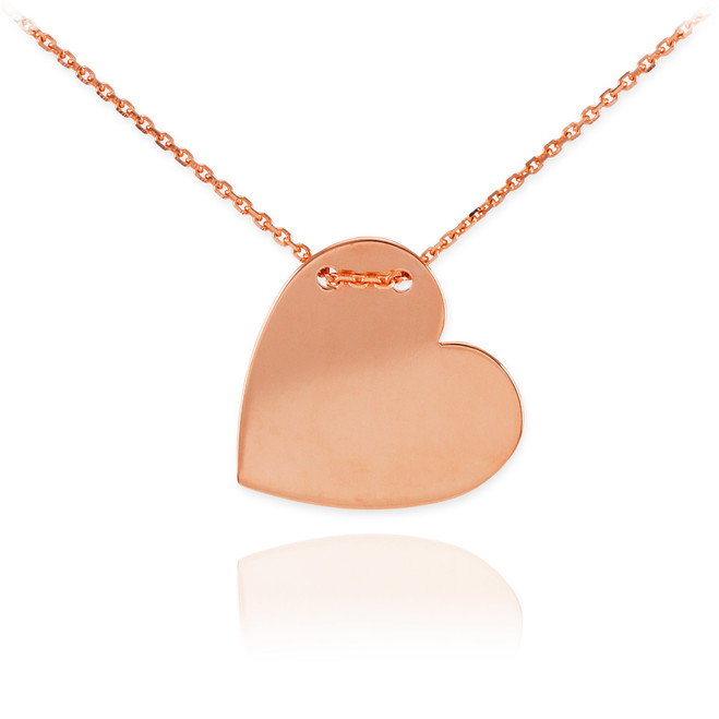 14K Rose Gold Engravable Heart Necklace