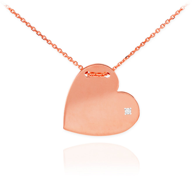 14K Rose Gold Diamond Engravable Heart Necklace