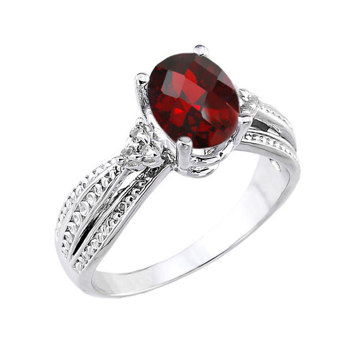 White Gold Checkerboard Cut Genuine Garnet and Diamond Proposal Ring