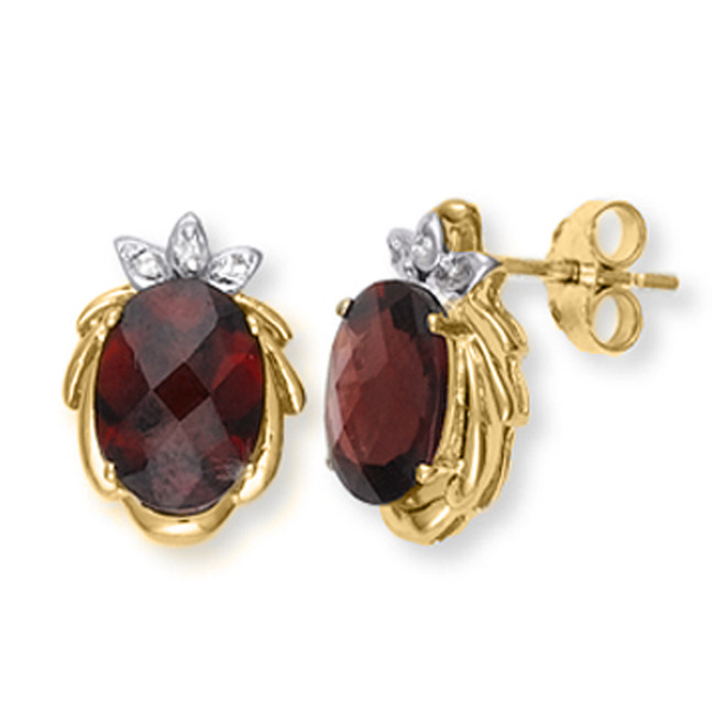 Yellow Gold Garnet and Diamond Earrings