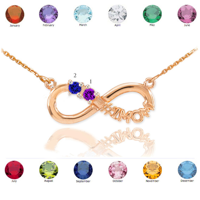 14k Rose Gold Infinity #1MOM Necklace with Two CZ Birthstones