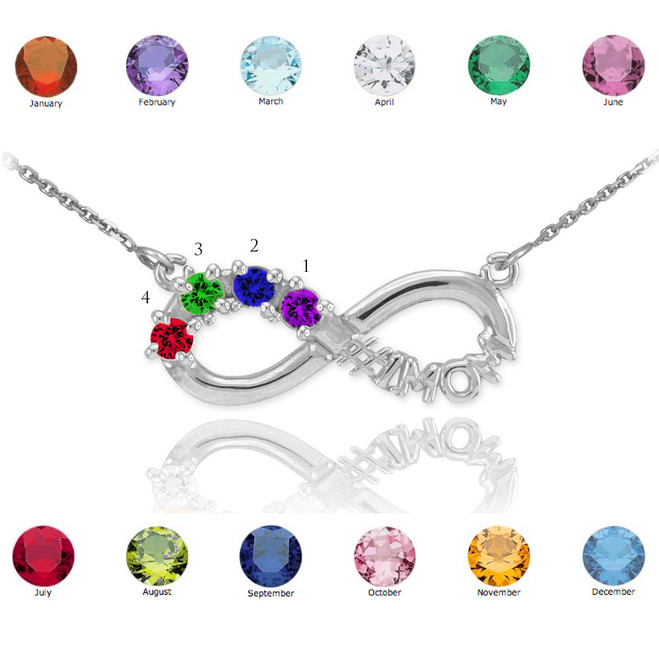 14K White Gold Infinity #1MOM Necklace with Four CZ Birthstones