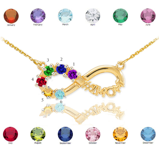14K Gold Infinity #1MOM Necklace with Six CZ Birthstones