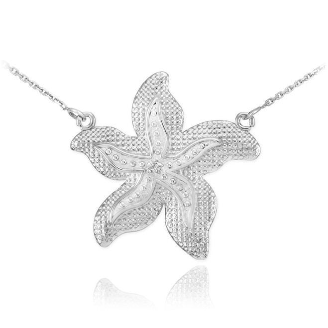14k White Gold Diamond Starfish Necklace