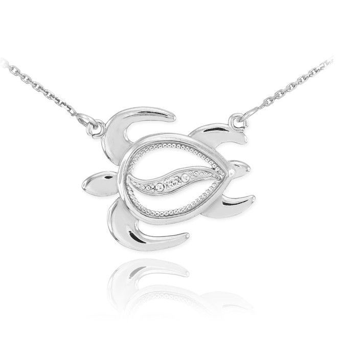 14k White Gold Diamond Turtle Necklace
