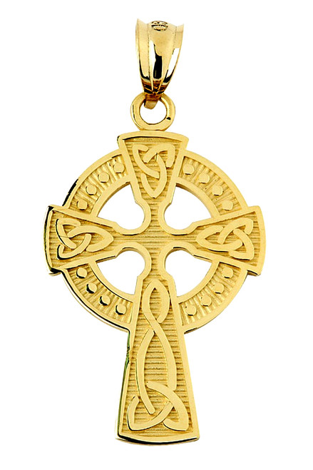 Yellow Gold Celtic Cross Charm Pendant