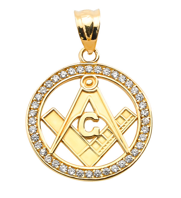 Yellow Gold Diamonds Studded Freemason Masonic Pendant