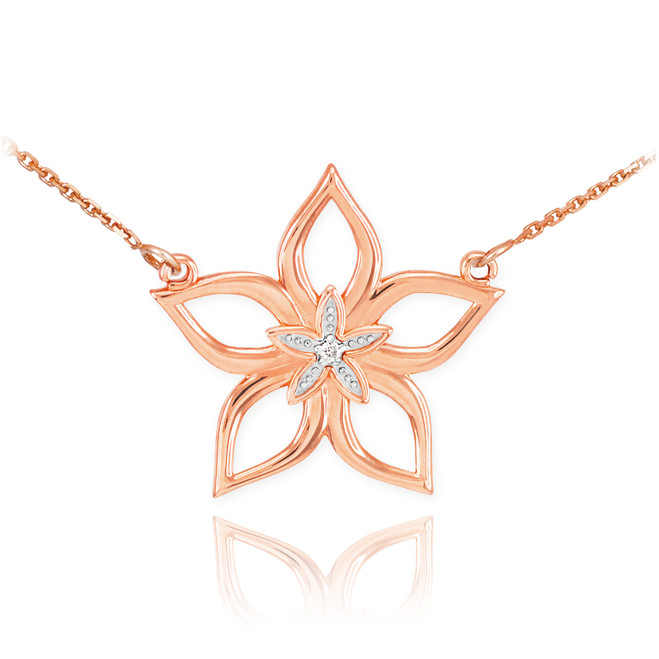 14k Rose Gold Diamond Star Flower Necklace