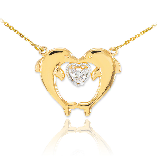 14k Gold Two Dolphins CZ Necklace