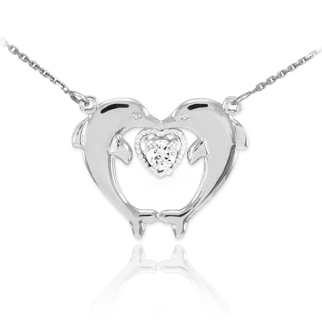 Sterling Silver Two Dolphins CZ Necklace