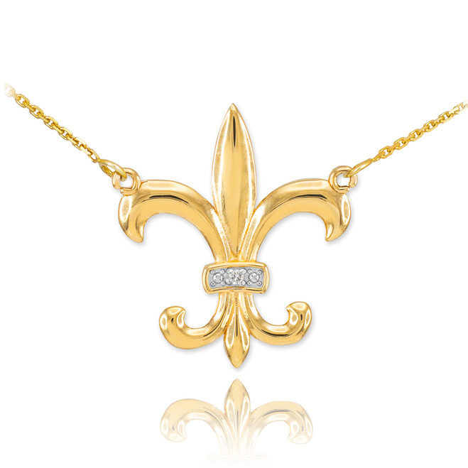 14k Gold Diamond Fleur-de-Lis Necklace