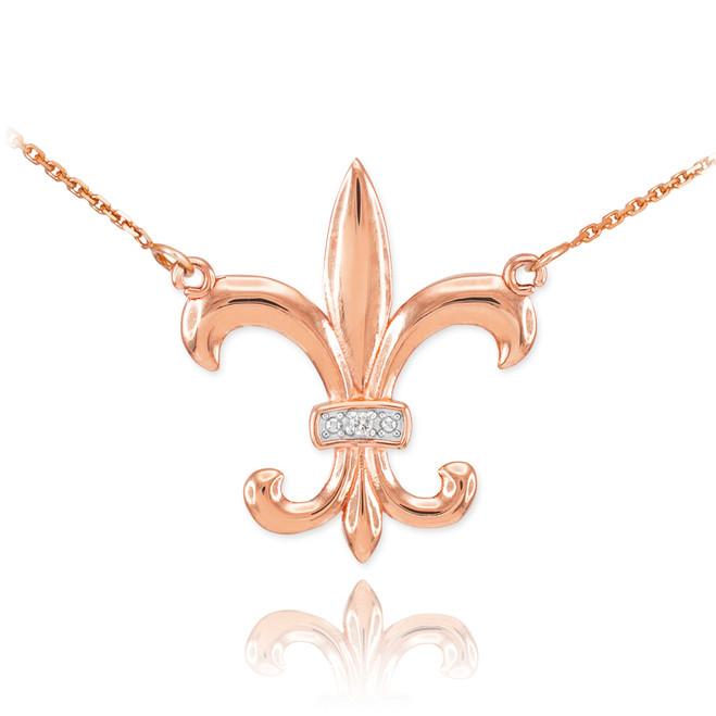 14k Rose Gold Diamond Fleur-de-Lis Necklace
