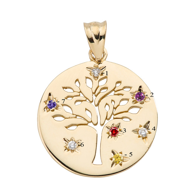 Yellow Gold Tree of Life Family Tree Disc Pendant with Birthstones