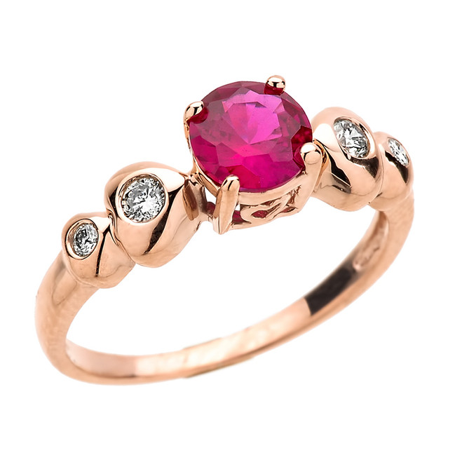 Rose Gold Diamond Double Heart with Ruby (Lab Created) Proposal Ring