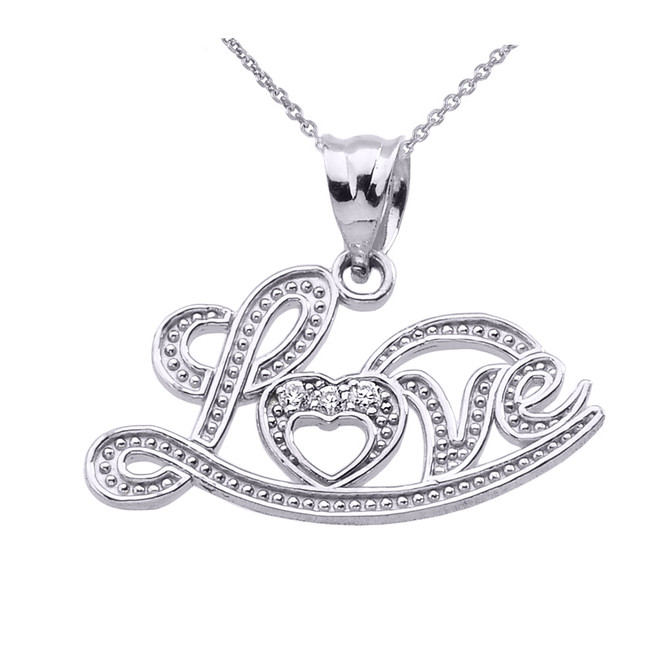 """Love"" Script Sterling Silver Diamond Pendant Necklace"