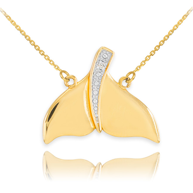 14k Gold Diamond Whale Tail Necklace