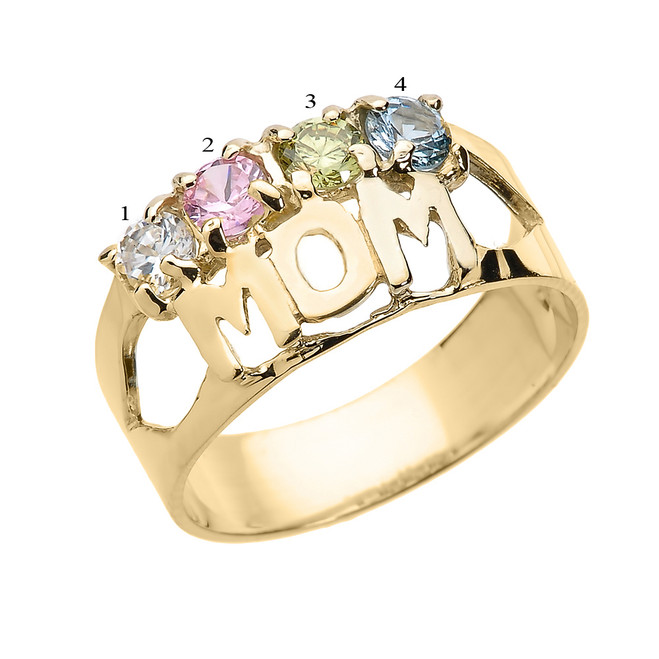 "Yellow Gold ""MOM"" Ring with Four CZ Birthstones"