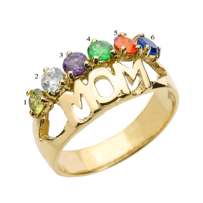 "Yellow Gold ""MOM"" Ring with Six CZ Birthstones"
