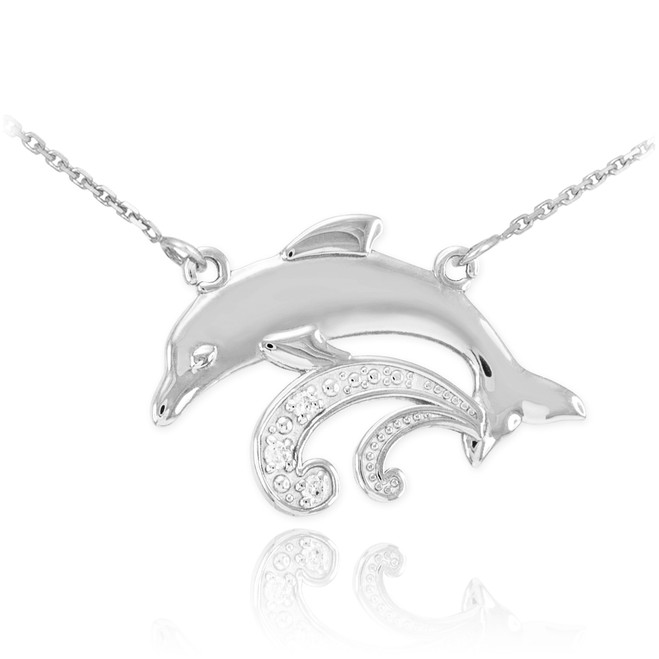 Sterling Silver Dolphin CZ Necklace