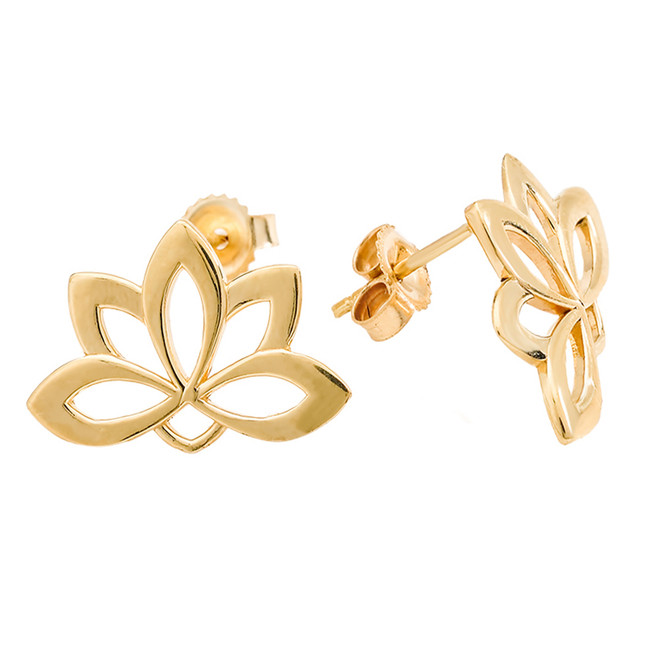 Yellow Gold Lotus Flower Stud Earrings
