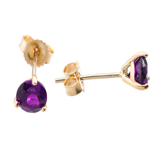 Yellow Gold Amethyst Martini Stud Earrings