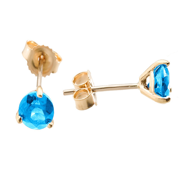 Yellow Gold Blue Topaz Martini Stud Earrings