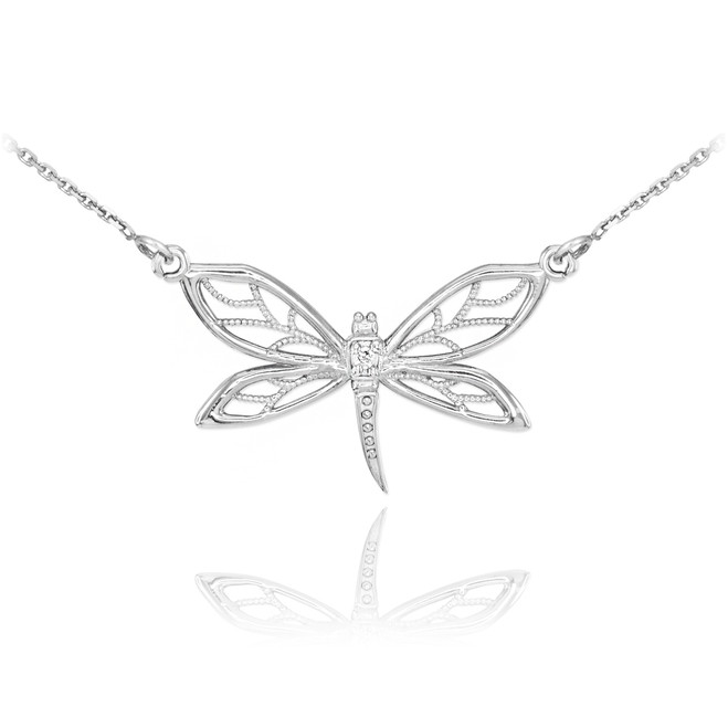 Sterling Silver CZ Dragonfly Filigree Necklace
