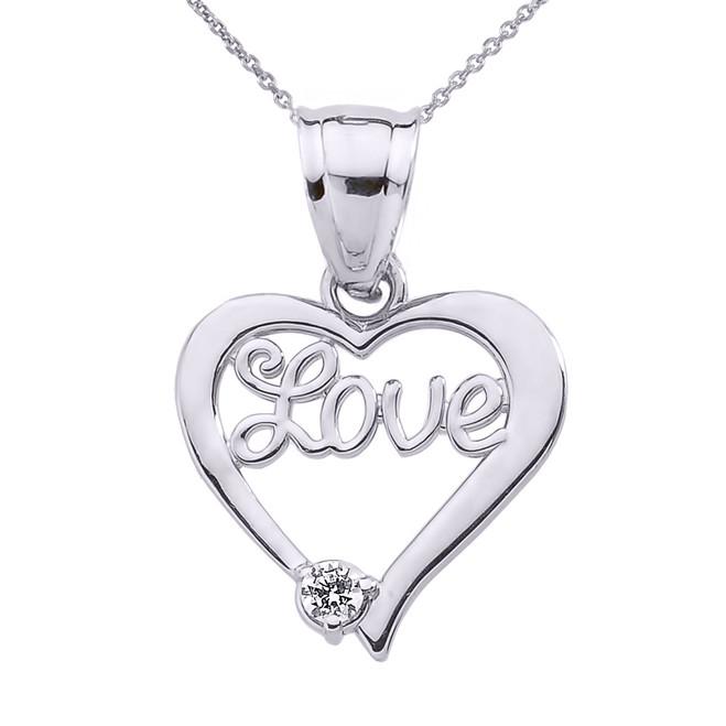 """White Gold """"Love"""" Script Diamond Heart Pendant Necklace"""