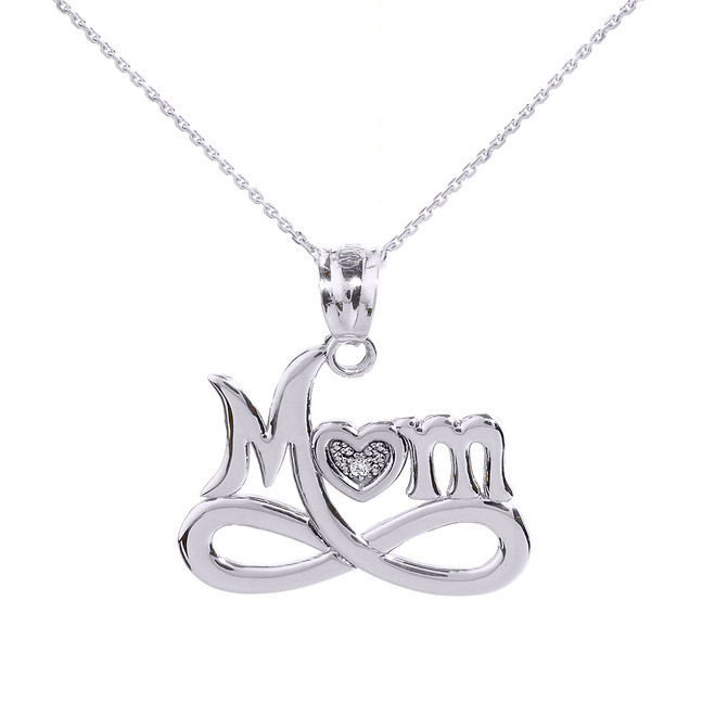 "White Gold Infinity ""MOM"" Heart with Diamond Pendant Necklace"