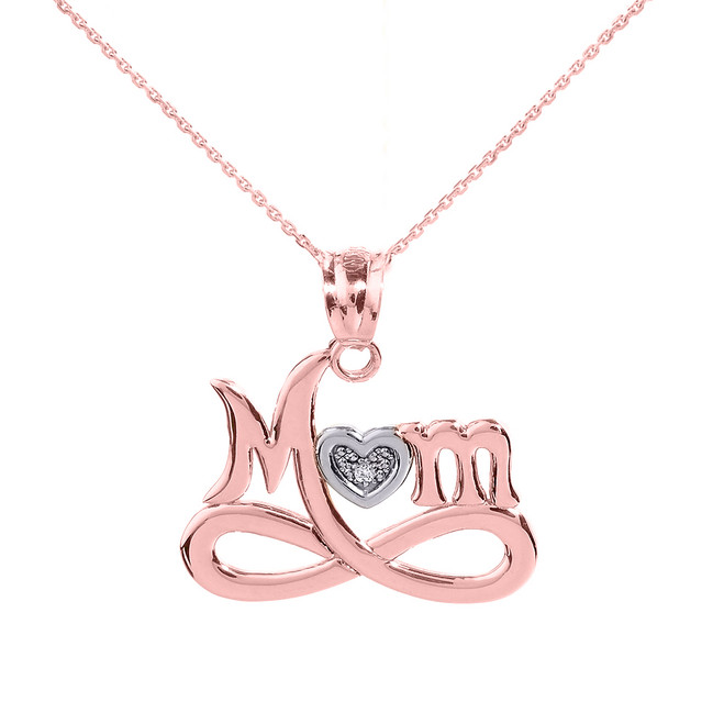 "Rose Gold Infinity ""MOM"" Heart with Diamond Pendant Necklace"