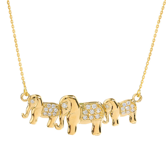Yellow Gold Diamonds Studded Three Elephant Pendant Necklace