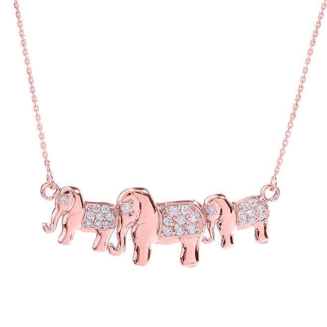 Rose Gold Diamonds Studded Three Elephant Pendant Necklace