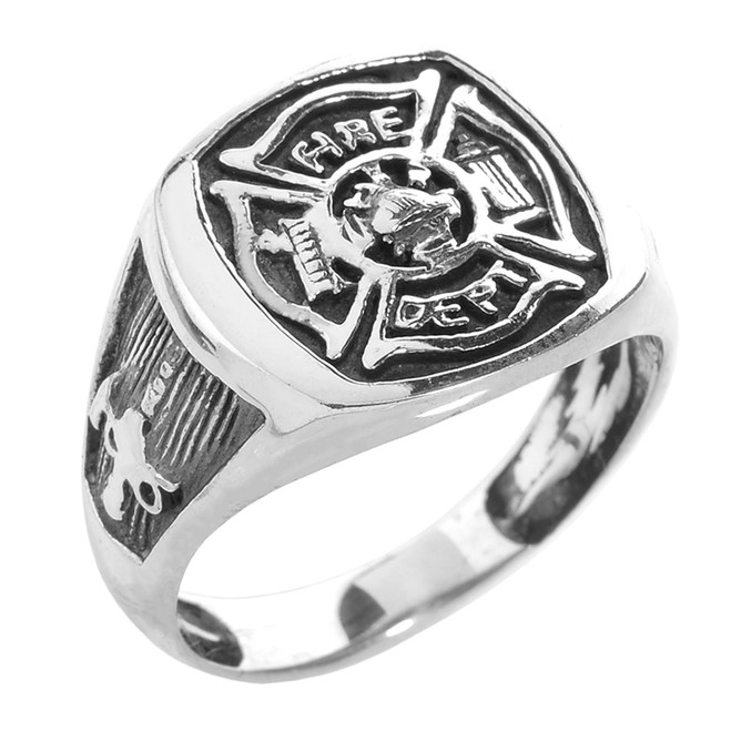 Bold Sterling Silver Fire Department Maltese Cross Ring