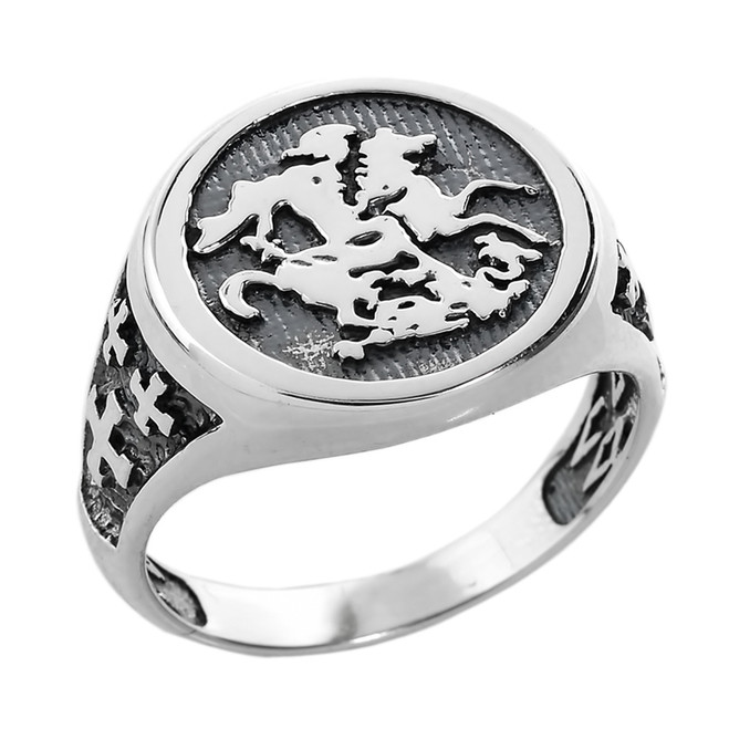 Sterling Silver Saint George and the Dragon Men's Ring