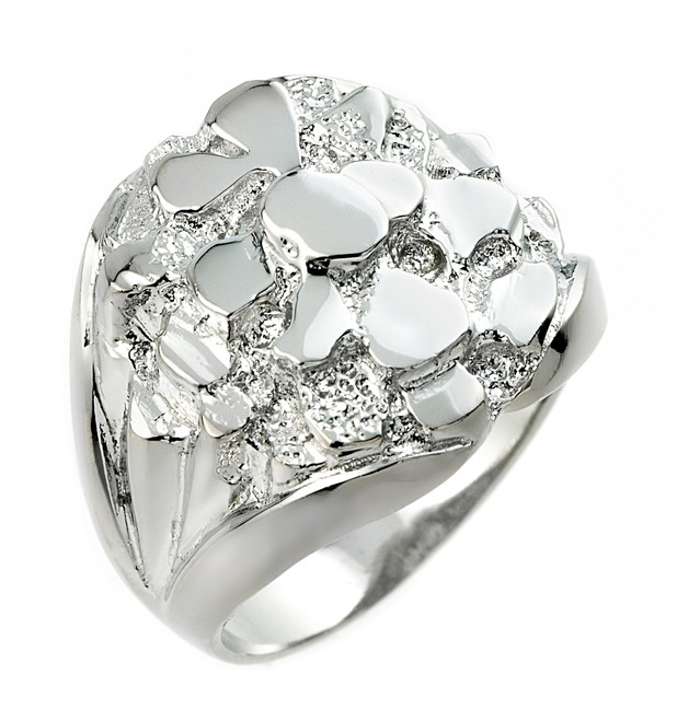 Bold Sterling Silver Men's Nugget Ring