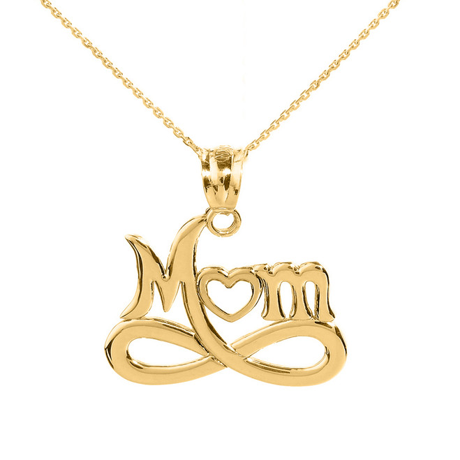 "Yellow Gold Infinity ""MOM"" Open Heart Pendant Necklace"