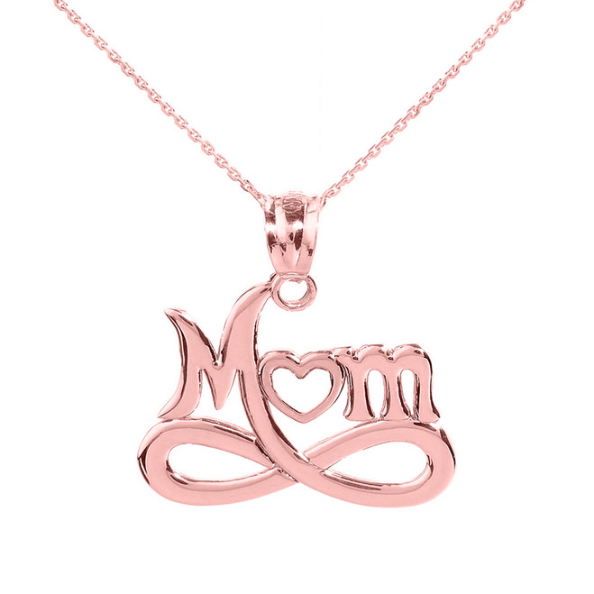 """Rose Gold Infinity """"MOM"""" Open Heart Pendant Necklace"""