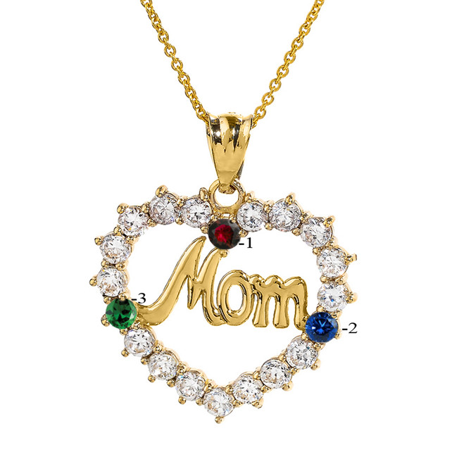 """Yellow Gold """"MOM"""" Open Heart Pendant Necklace with Three CZ Birthstones"""