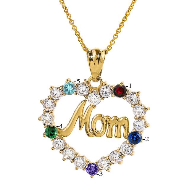 "Yellow Gold ""MOM"" Open Heart Pendant Necklace with Five CZ Birthstones"