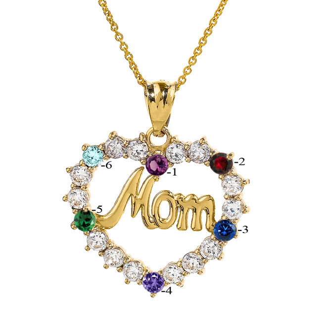 """Yellow Gold """"MOM"""" Open Heart Pendant Necklace with Six CZ Birthstones"""