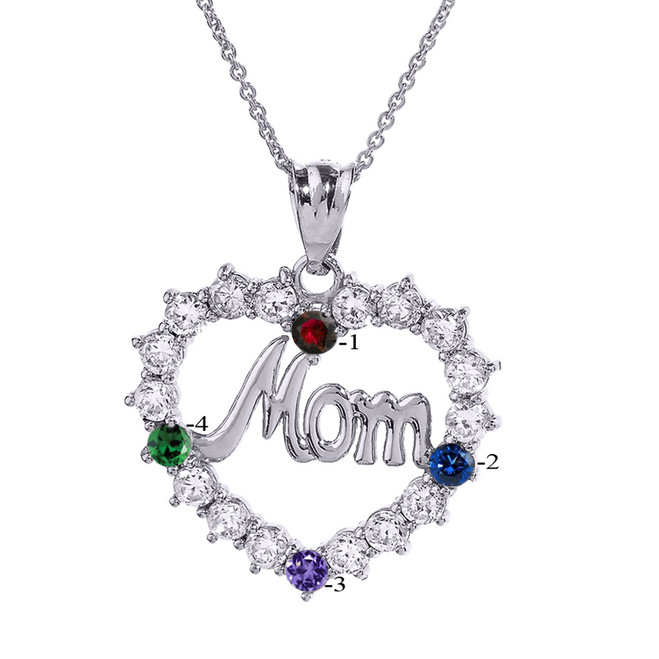 """White Gold """"MOM"""" Open Heart Pendant Necklace with Four CZ Birthstones"""