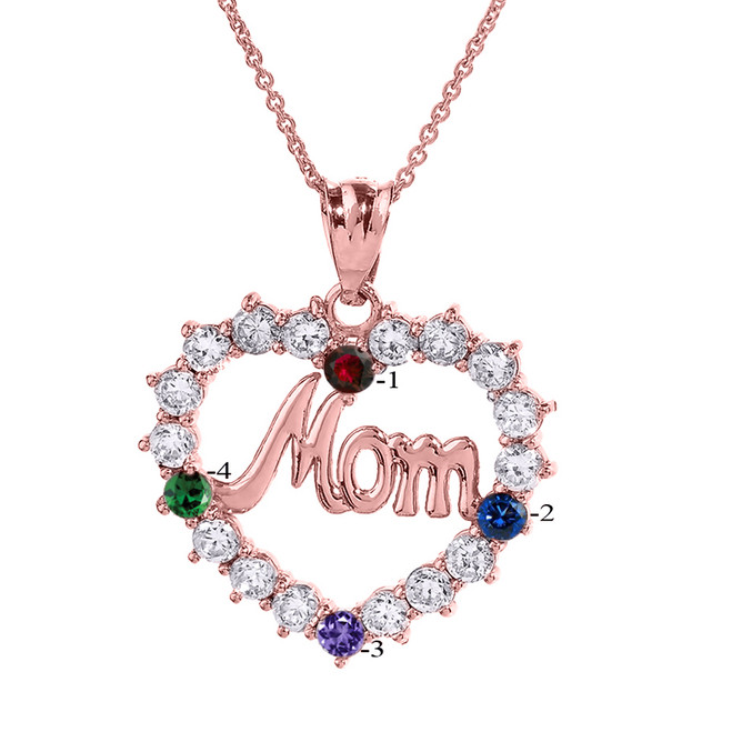 """Rose Gold """"MOM"""" Open Heart Pendant Necklace with Four CZ Birthstones"""