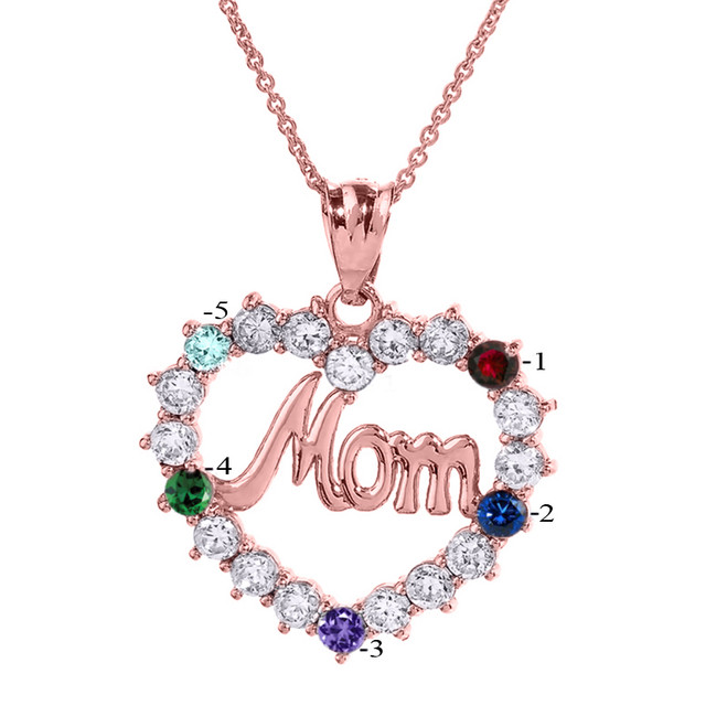 """Rose Gold """"MOM"""" Open Heart Pendant Necklace with Five CZ Birthstones"""