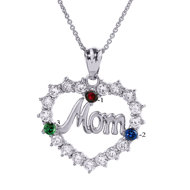 "Sterling Silver ""MOM"" Open Heart Pendant Necklace with Three CZ Birthstones"