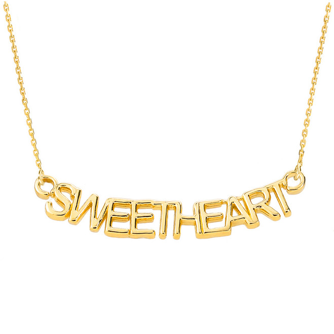 "14K Yellow Gold  ""SWEETHEART"" Pendant Necklace"