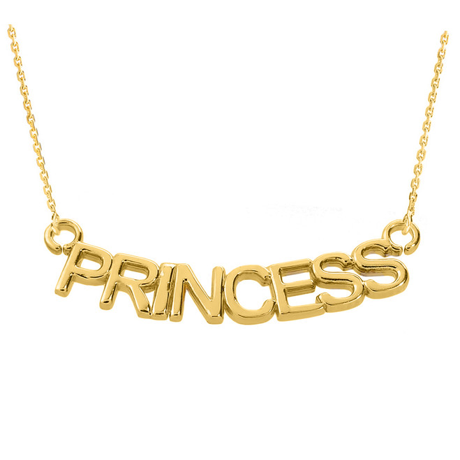 "14K Yellow Gold  ""PRINCESS"" Pendant Necklace"